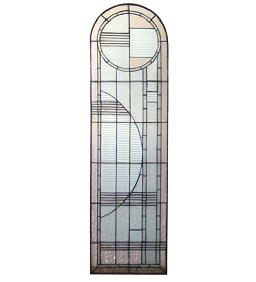 "15""W X 54""H Arc Deco Right Sided Stained Glass Window"