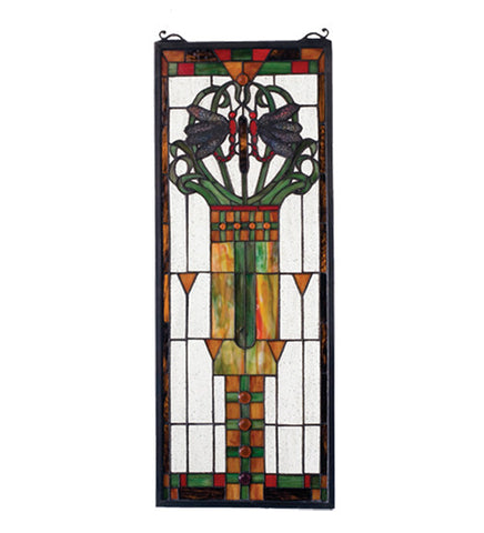 "10""W X 26""H Dragonfly Allure Stained Glass Window"