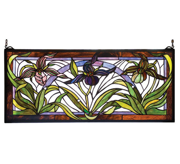 "30""W X 13""H Lady Slippers Stained Glass Window"