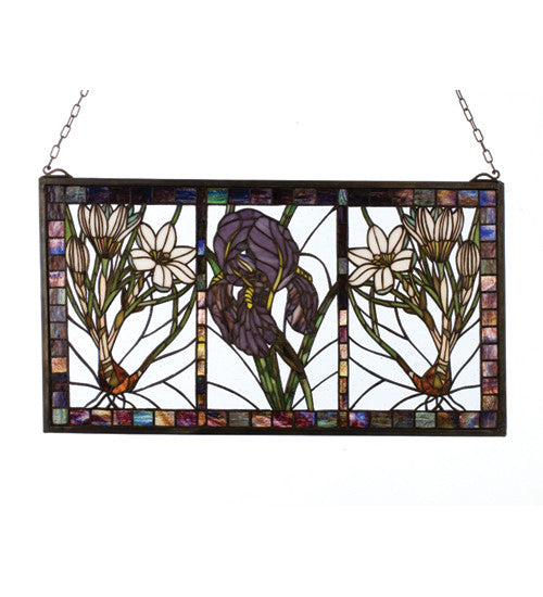 "25""W X 14""H Spring Triptych Stained Glass Window"