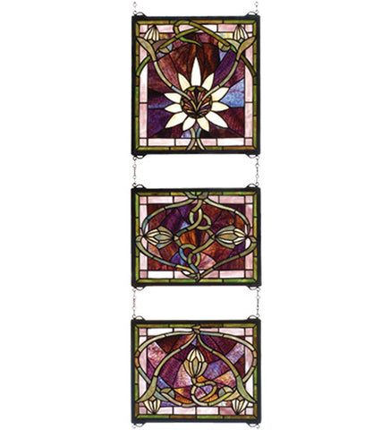 "14""W X 39""H Solstice 3 Piece Stained Glass Window"