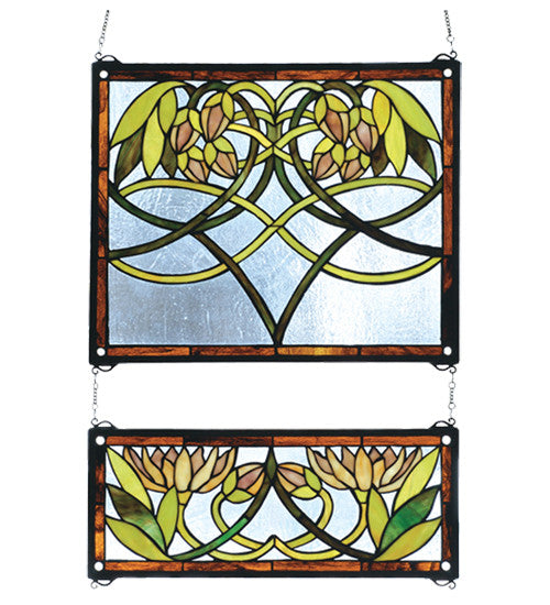"21""W X 26""H Waterlily 2 Pieces Stained Glass Window"