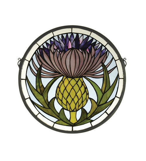 "17""W X 17""H Thistle Medallion Stained Glass Window"