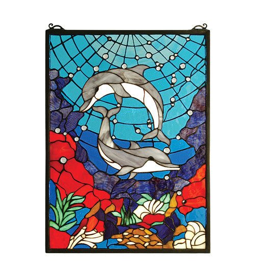 "16""W X 22""H Dolphin Dance Stained Glass Window"