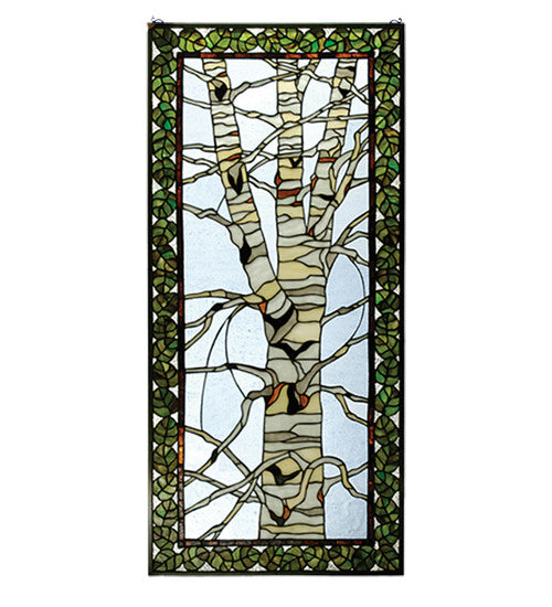 "22""W X 48""H Birch Tree In Winter Stained Glass Window"