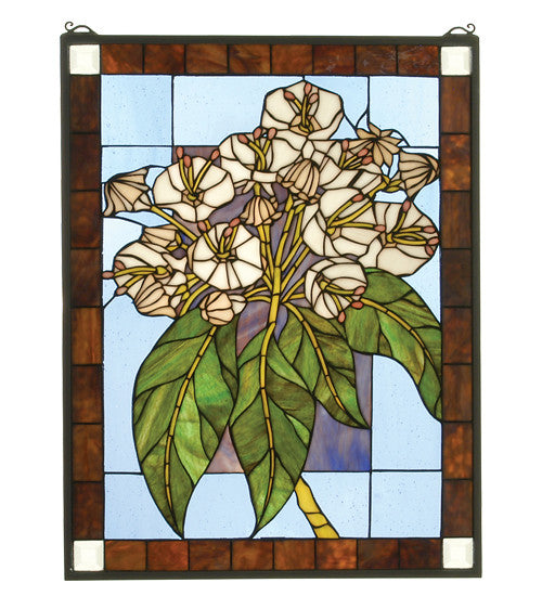 "20""W X 26""H Revival Mountain Laurel Stained Glass Window"