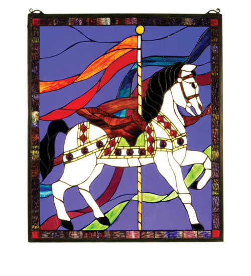 "20.5""W X 24""H Carousel Horse Stained Glass Window"