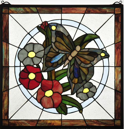 "20""W X 20""H Butterfly Floral Stained Glass Window"