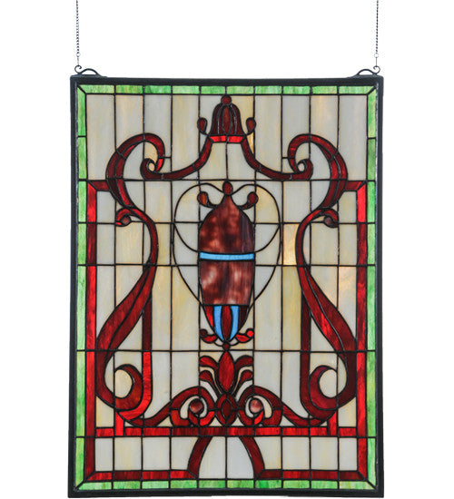 "18""W X 24""H Baroque Vase Stained Glass Window"