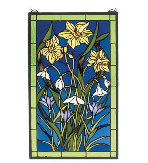 "15""W X 25""H Spring Bouquet Stained Glass Window"