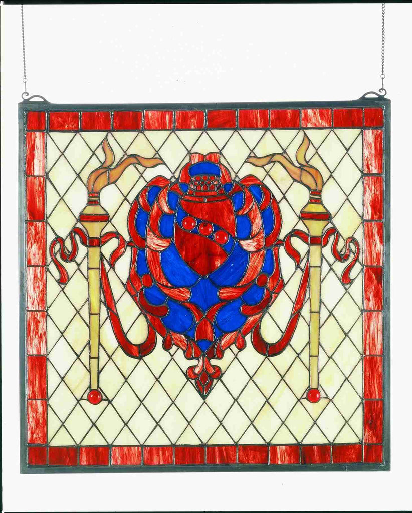 "20""W X 20""H Victorian Shield Stained Glass Window"