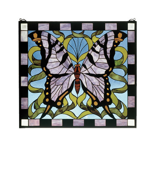 "25""W X 23""H Butterfly Stained Glass Window"