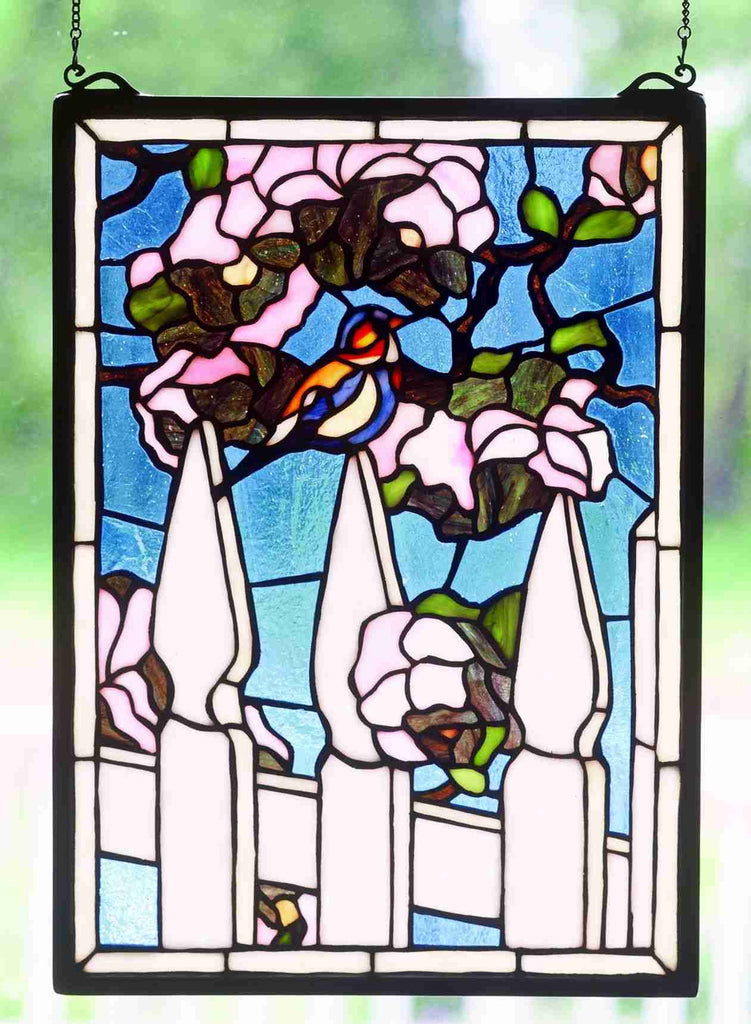 "13""W X 18""H Picket Fence Stained Glass Window"
