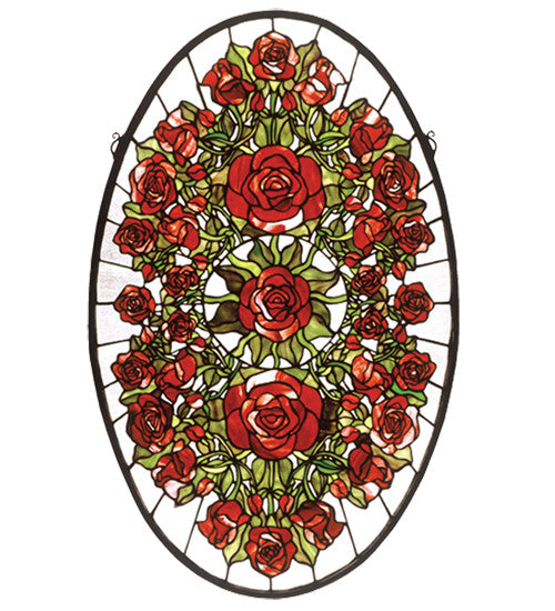"22""W X 35""H Oval Rose Garden Stained Glass Window"