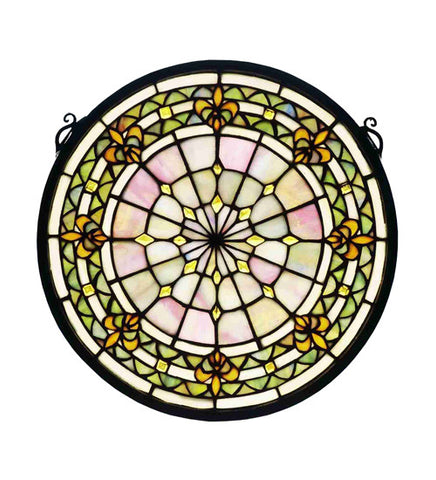 "13"" Round Fleur-De-Lis Medallion Stained Glass Window"