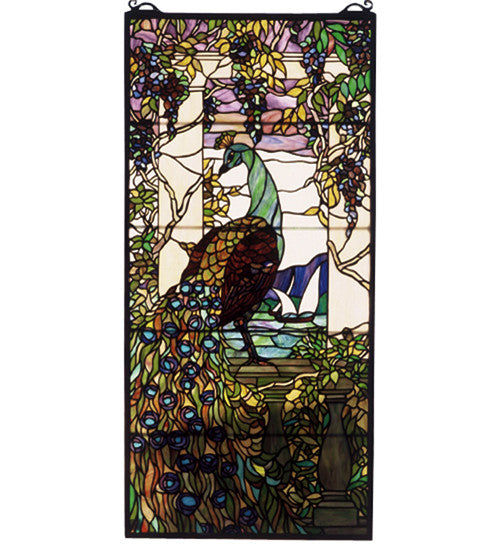 "19""W X 40""H Tiffany Peacock Wisteria Stained Glass Window"
