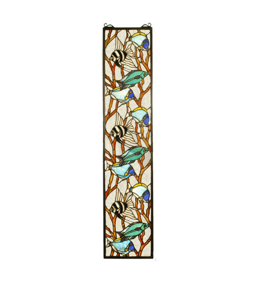 "9""W X 42""H Tropical Fish Stained Glass Window"