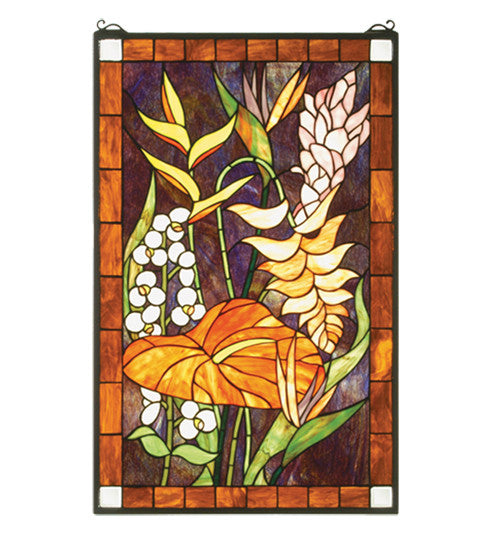 "20""W X 32""H Tropical Floral Stained Glass Window"