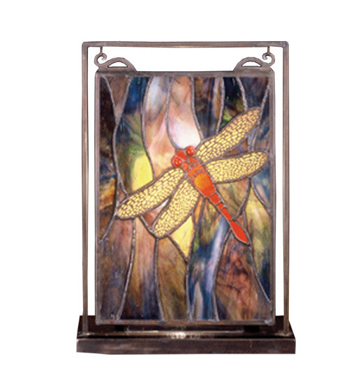 "9.5""W X 10.5""H Tiffany Dragonfly Lighted Mini Tabletop Window"