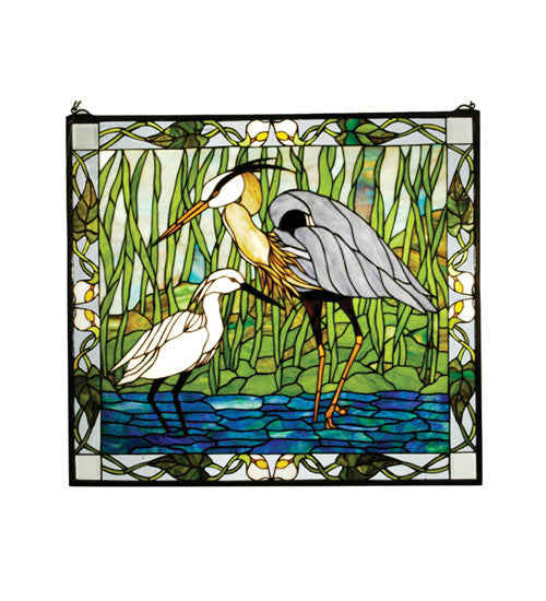 "30""W X 27""H Blue Heron & Snowy Egret Stained Glass Window"