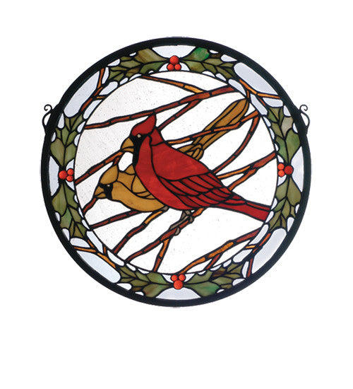 "15""W X 15""H Cardinals & Holly Medallion Stained Glass Window"