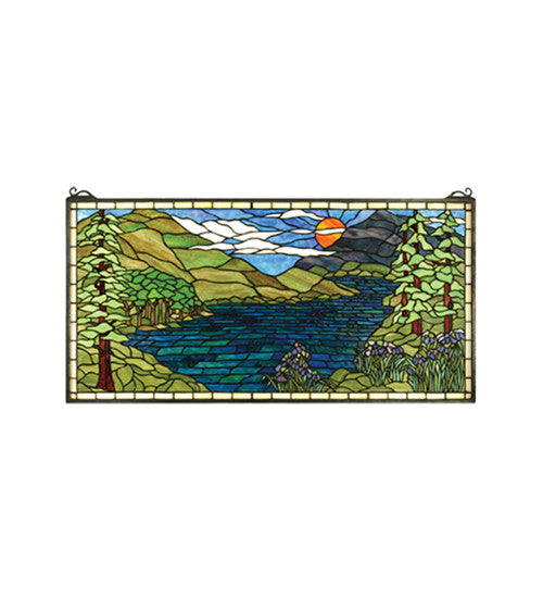 "40""W X 20""H Sunset Meadow Stained Glass Window"