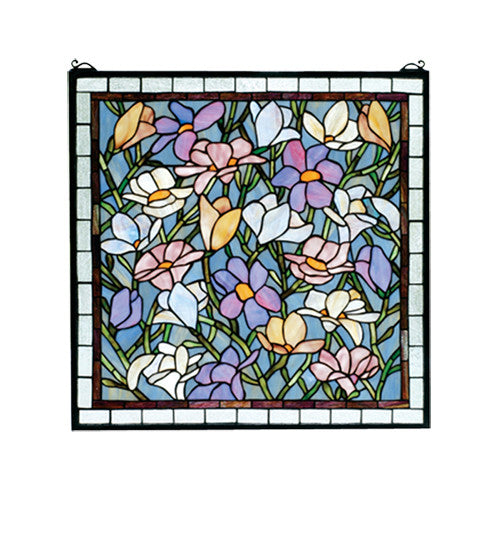 "22""W X 22""H Sugar Magnolia Stained Glass Window"