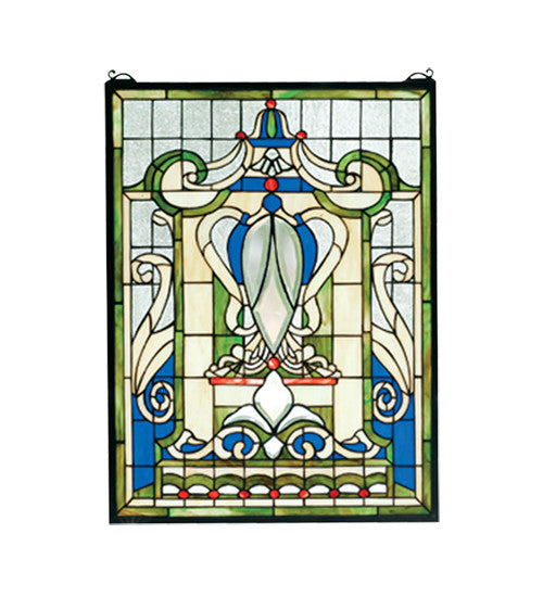 "18""W X 24""H Royal Blue Windsor Stained Glass Window"