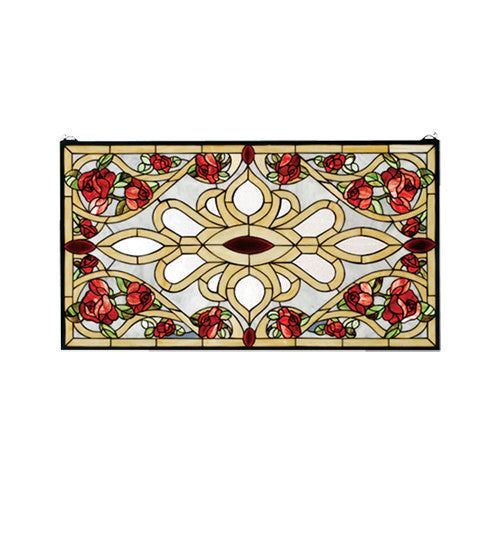 "36""W X 20""H Bed Of Roses Stained Glass Window"