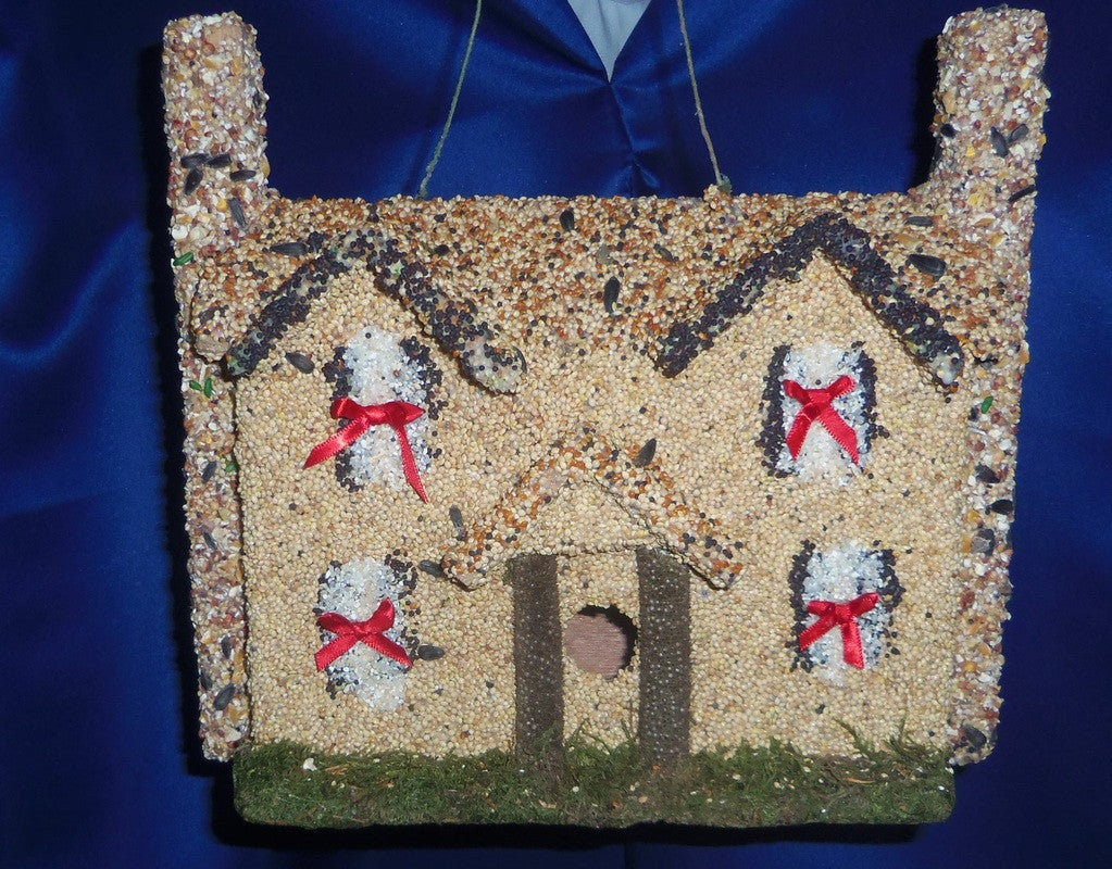 Colonial Bird House Feeder with Red Bows