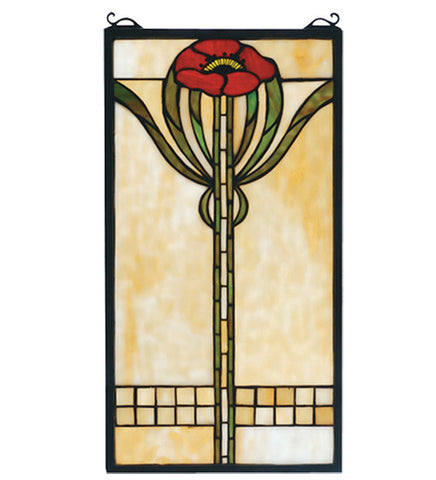 "11""W X 20""H Parker Poppy Stained Glass Window"