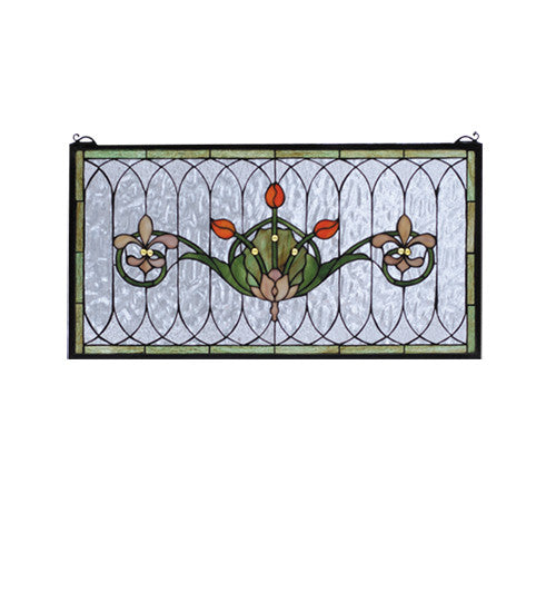 "26""W X 14""H Tulip & Fleurs Stained Glass Window"