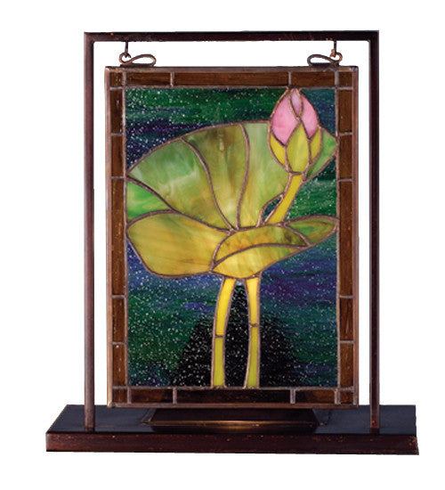 "9.5""W X 10.5""H Tiffany Pond Lily Lighted Mini Tabletop Window"