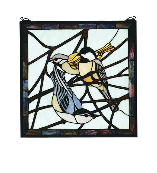 "18""W X 18""H Early Morning Visitors Stained Glass Window"