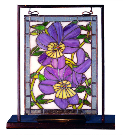 "9.5""W X 10.53""H Pansies Lighted Mini Tabletop Window"