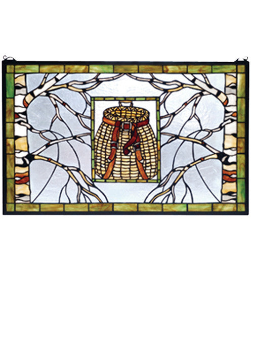 "28""W X 18""H Pack Basket Stained Glass Window"