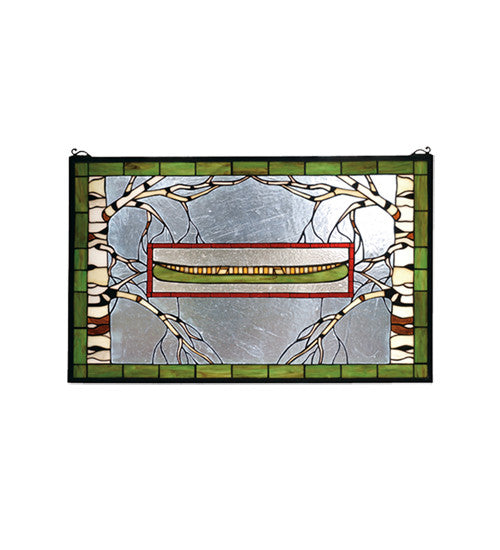 "28""W X 18""H North Country Canoe Stained Glass Window"