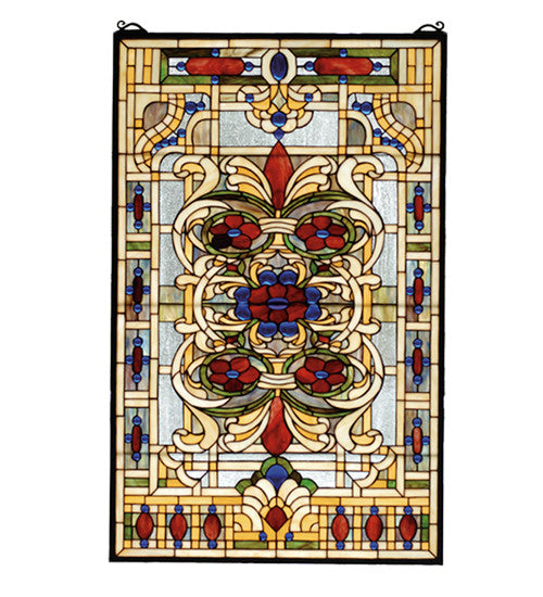"22""W X 35""H Estate Floral Stained Glass Window"