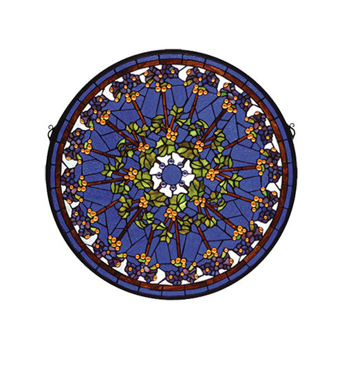 "24""W X 24""H Violet Rosette Medallion Stained Glass Window"