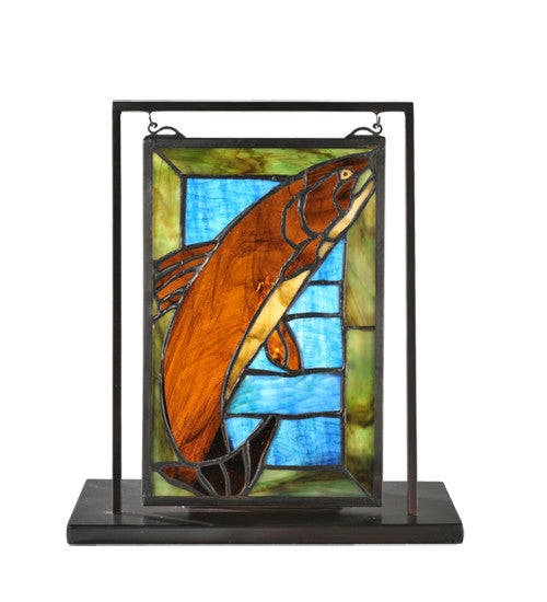 "9.5""W X 10.5""H Trout Lighted Mini Tabletop Window"