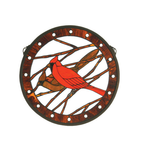 "15""W X 15""H Cardinals Medallion Stained Glass Window"
