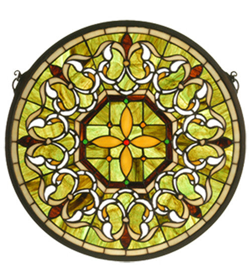 "16""W X 16""H Fleuring Medallion Stained Glass Window"