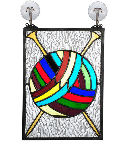 "6""W X 9""H Ball Of Yarn W/Needles Stained Glass Window"