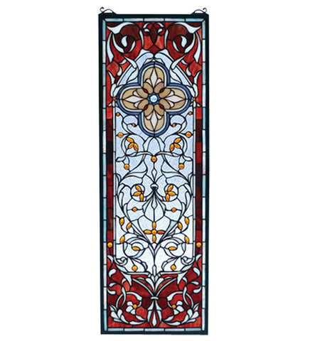 "11""W X 32""H Versaille Quatrefoil Stained Glass Window"