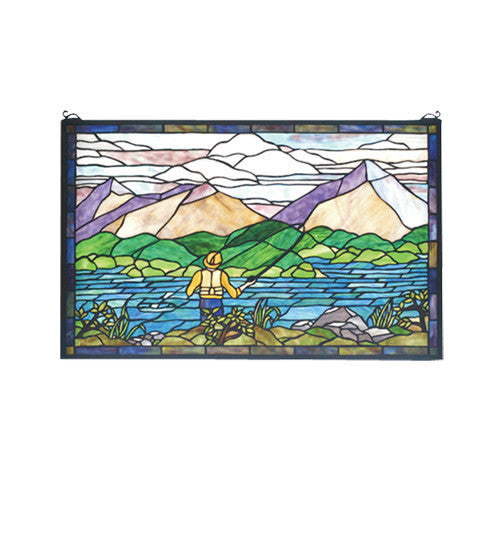 "30""W X 19""H Fly Fishing Stained Glass Window"