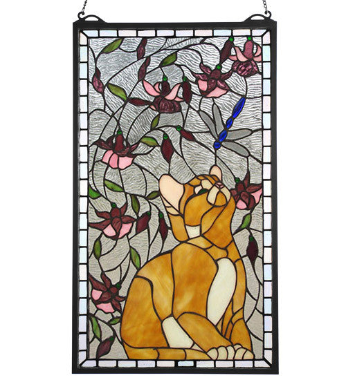 "14""W X 24""H Kitten & Dragonfly Stained Glass Window"