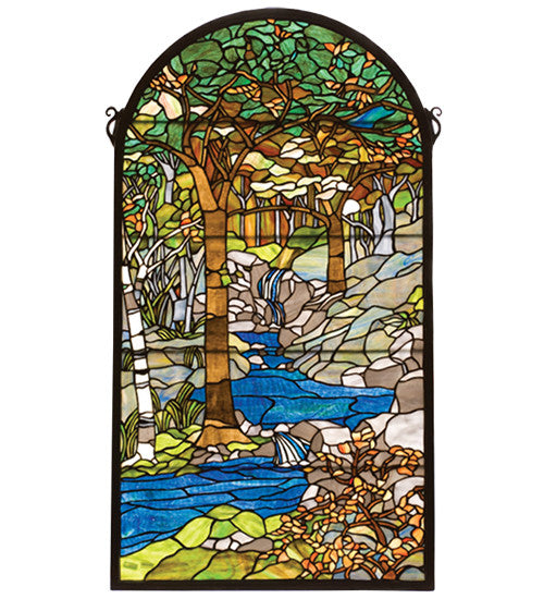 "40""H X 22""W Tiffany Waterbrooks Stained Glass Window"