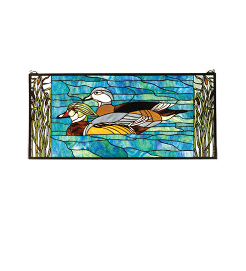 "35""W X 16""H Wood Ducks Stained Glass Window"