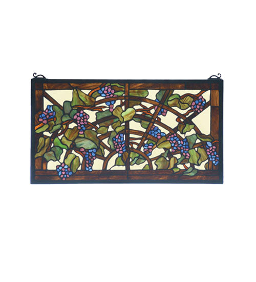 "22""W X 12""H Tiffany Grape Arbor Stained Glass Window"