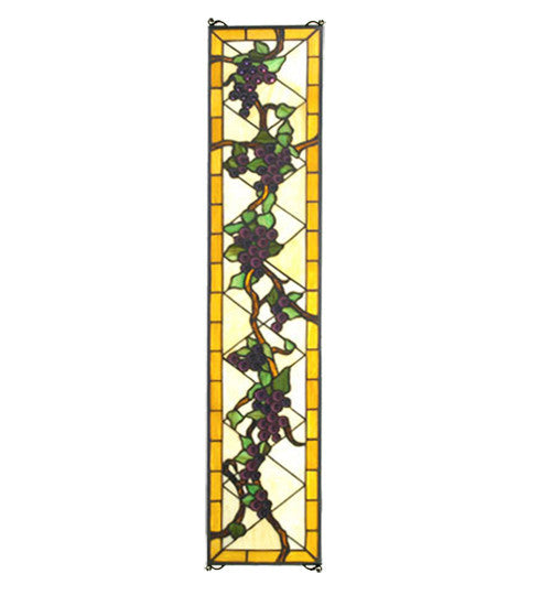 "8""W X 36""H Jeweled Grape Stained Glass Window"